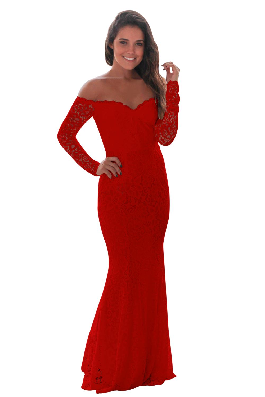US 36.25 Zkess Red Crochet Off Shoulder Maxi Evening Party Dress 73c8e7eb4