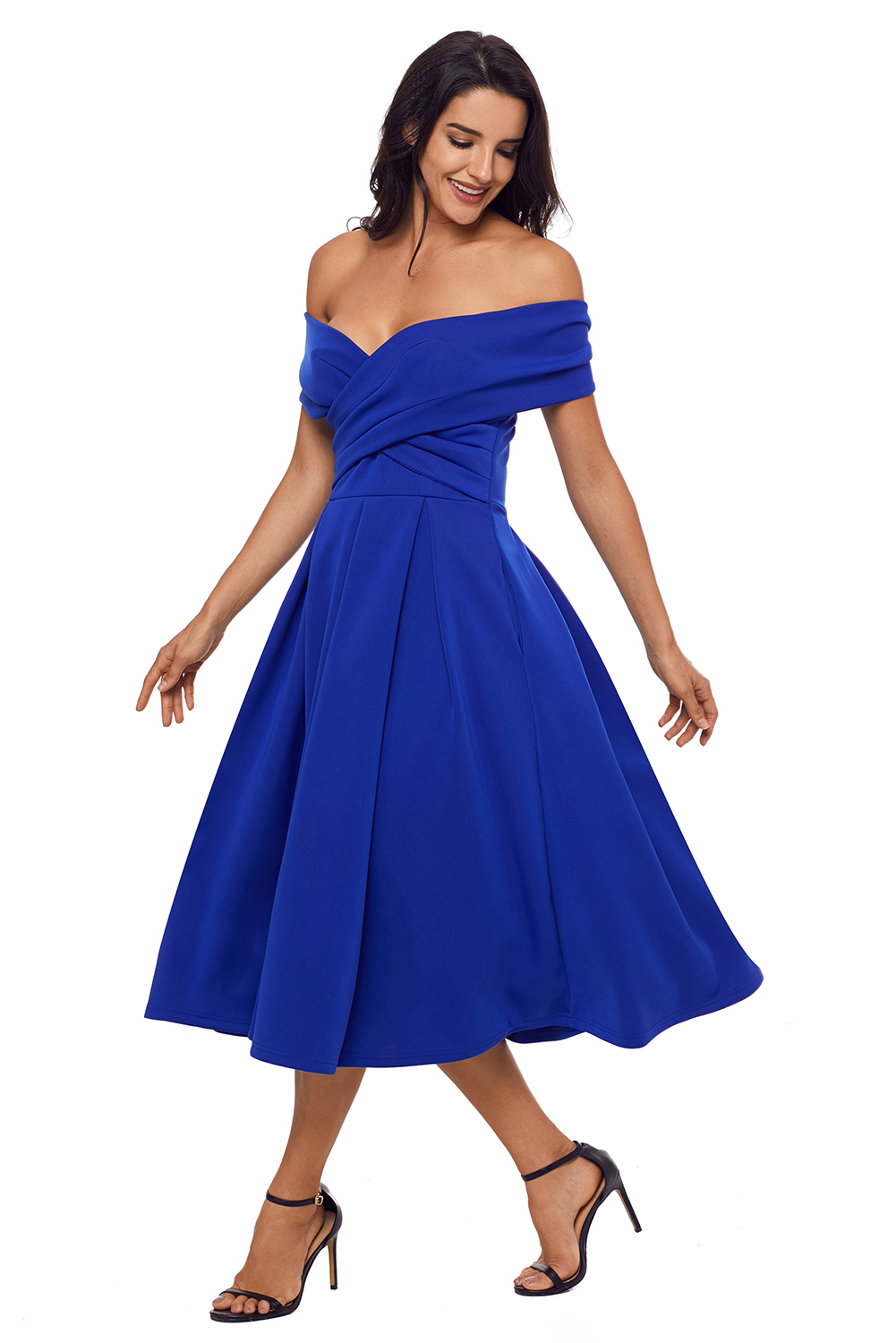 US$33.75 Zkess Royal Blue Crossed Off Shoulder Fit-and-flare Prom Dress