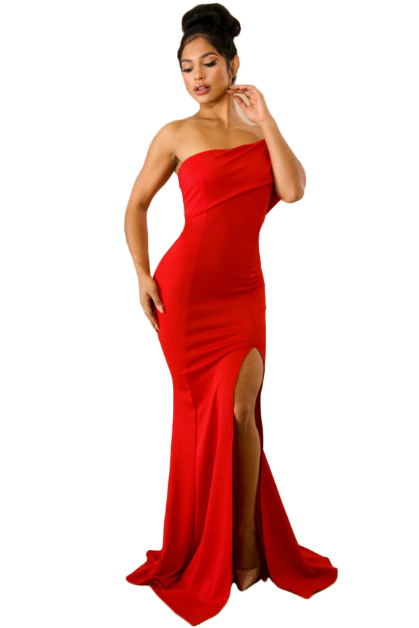 US$30.25 Zkess Red Off The Shoulder One Sleeve Slit Maxi Party Prom ...