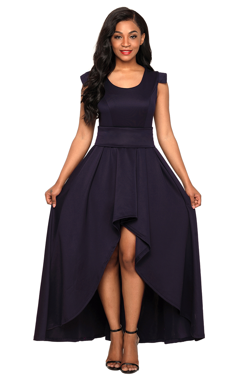 US$38.5 Zkess Navy Sophisticated Party Queen High Low Dress