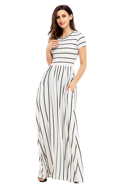 US$27.73 Zkess Black Striped White Short Sleeve Maxi Dress
