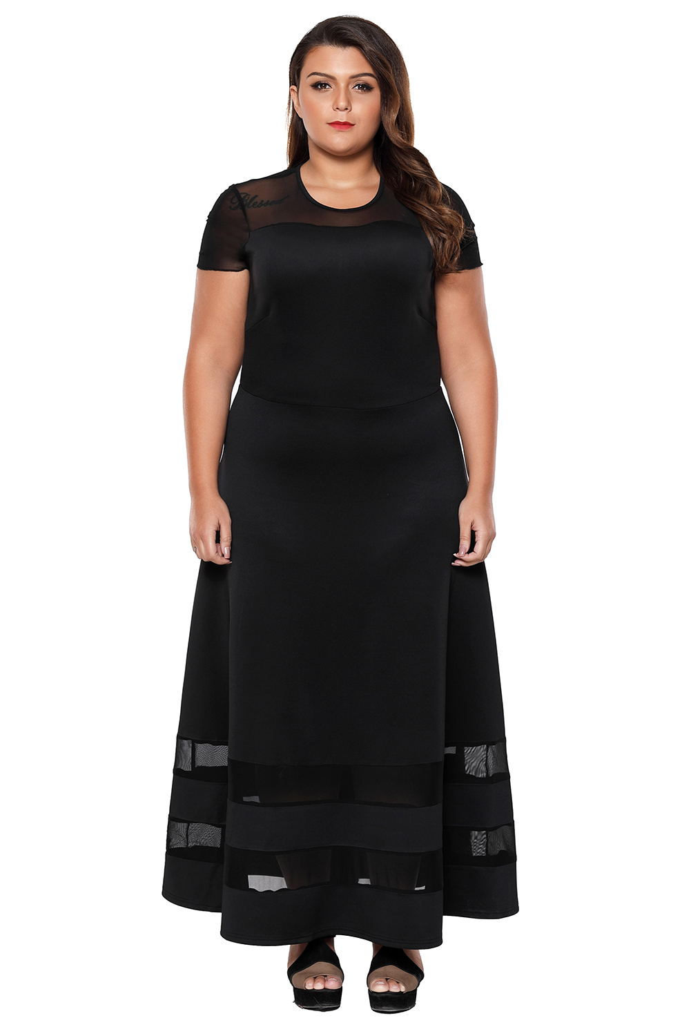 US$30 Zkess Black Organza Trim Plus Size Cocktail Dresses