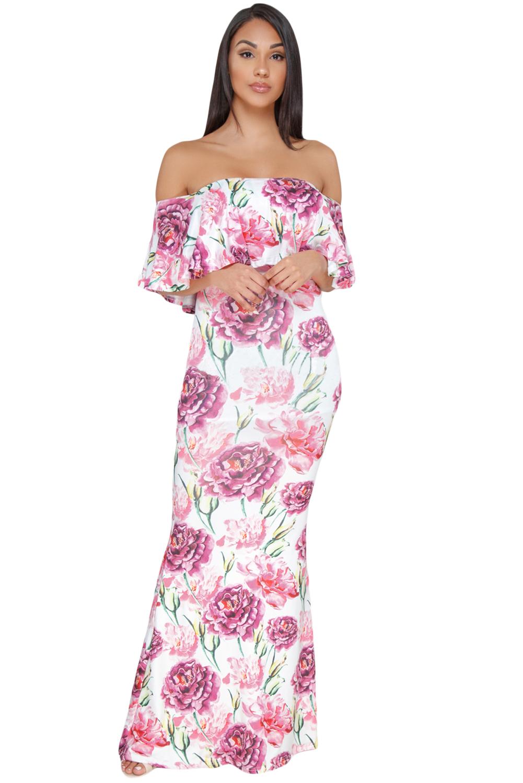 Us2925 Zkess White Floral Print Off The Shoulder Maxi Dress