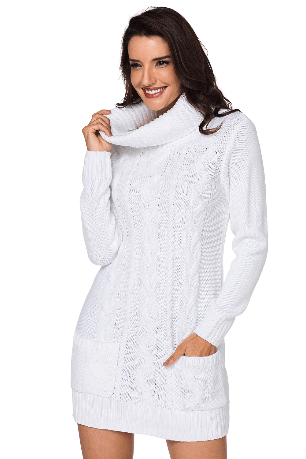 Us3863 Zkess White Cowl Neck Cable Knit Sweater Dress