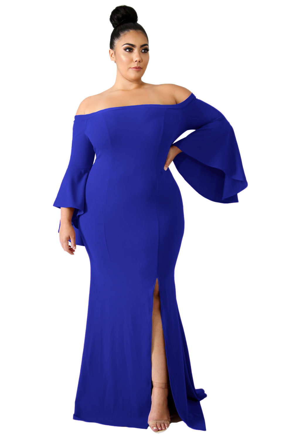 US$35.45 Zkess Chic Blue Off Shoulder Slit Plus Size Mermaid Dress
