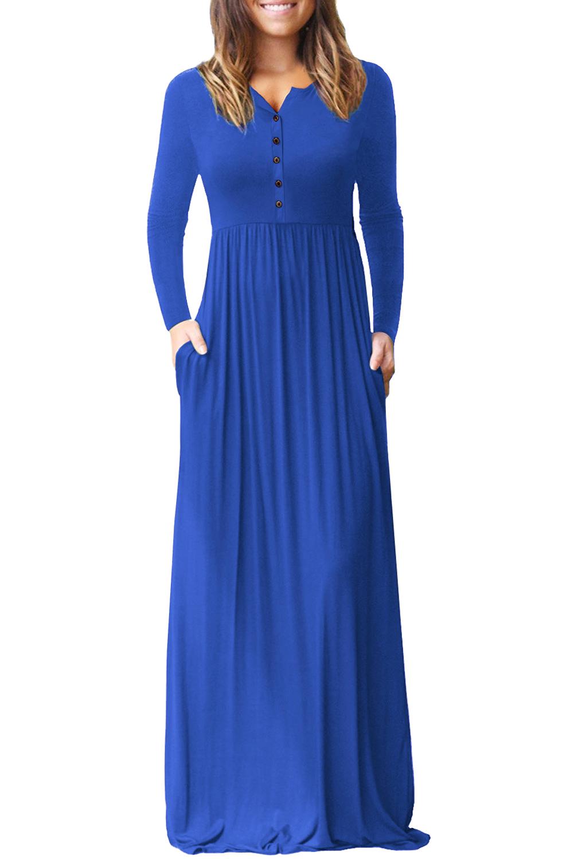 Us 31 Zkess Royal Blue Long Sleeve Button Down Casual Maxi Dress