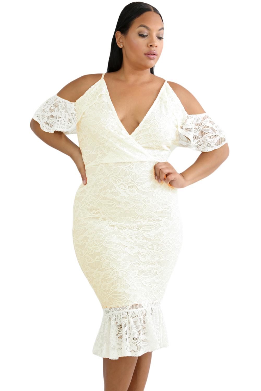 US$30 Zkess White Plus Size Cold Shoulder Lace Bodycon Dress