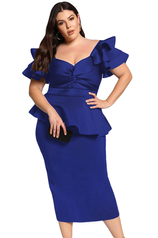 US$36.5 Zkess Royal Blue Plus Size Tiered Sleeve Twisted ...