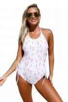 Floral Print Thru Halter Neck Lace up Sides Monokini