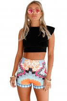 Orange Stylish Print Party High Waist Shorts