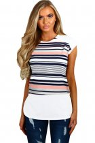 Navy and Pink Multi Stripe Female T-Shirt