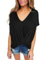 Black Draped Front Knot Top