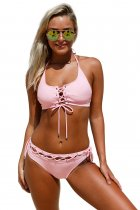 Lace up Halter Bralette Bikini Set