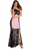 Black Lace Splice Pink One Shoulder Maxi Evening Dress