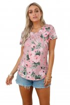 Dusty Pink Floral V Neck Short Sleeve T-shirt