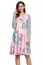 Pink Floral Print Stripe Raglan Sleeve Dress