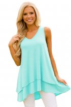 Mint Ruffled Layer Asymmetric Hem Tunic Tank
