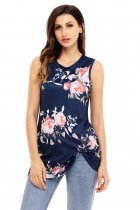Knot Front Detail Navy Floral Tank Top