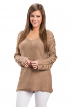 Mocha Open Knit Sleeve Cutout V Neck Sweater