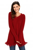 Red V Neck Waffle Knit Sweater