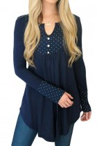 Blue Polka Dot Peasant Tunic