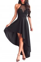 Black Sheer Mesh Decolletage Hi-low Party Dress