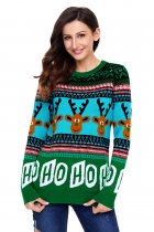 Cartoon Reindeer HO HO HO Green Christmas Sweater