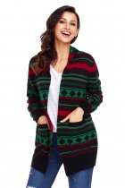 Black Red Green Geometric Knit Christmas Cardigan