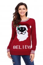 Black Santa Christmas Sweater In Red