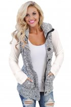 Heather Grey Cable Knit Hooded Sweater Vest
