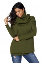 Green Cozy Cowl Neck Long Sleeve Sweater