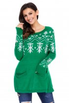 Green A-line Casual Fit Christmas Fashion Sweater
