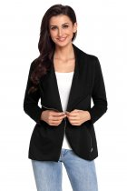 Black Women's Casual Chic Jacket with Side Zipper