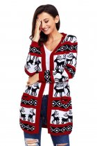 Red White Reindeer Geometric Christmas Cardigan