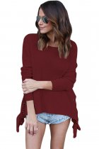 Red Long Sleeve Lace up Sided Sweater