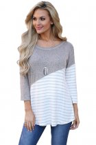 Asymmetric Striped Grey Patchwork Top