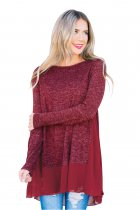 Chiffon Hemline Splice Burgundy Long Sleeve Top