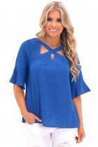 Royal Blue Crisscross Neck Lace Insert Bell Sleeve Top