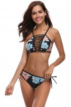 Strappy Ladder Cut Out Floral Print Bikini Swimsuit
