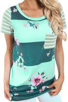 Green Colorblock Floral Striped Casual T-shirt