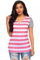 Pink Gray Striped Tee for Women