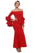 Red Off Shoulder Pleated Bell Sleeves Party Evening Maxi Dress