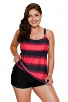 Rosy Strappy Hollow-out Back Plus Size Tankini