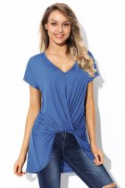 Blue Short Sleeve Hi Lo Top with Twist Front Detail