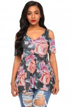 Charcoal Cold Shoulder Babydoll Top in Floral Print