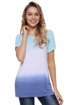 Mint White Blue Tie Dye Shift Tee