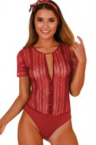 Red Button Front Sheer Floral Lace Bodysuit