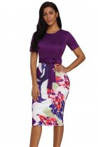 Purple Bowknot Short Sleeve Printed Sheath Dress