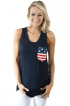 Navy Stars and Stripes Pocket Tank Top