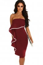 Wine Frill Strapless Midi Dress